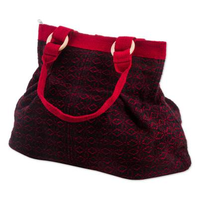 Novica Wool shoulder bag, Cherry Coal