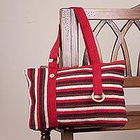 Wool shoulder bag, 'Claret Parallels' - Striped Red and Brown Hand Woven Wool Shoulder Bag from Peru