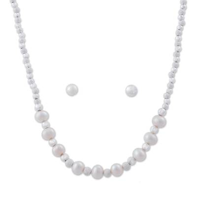 925 Sterling Silver Cultured Pearl Jewelry Set from Peru