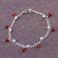 Carnelian station bracelet, 'Charming Carnelian' - Sterling Silver Station Bracelet with Carnelian Charms