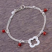 Carnelian pendant bracelet, 'Hidden Clover' - Sterling Pendant Bracelet with Carnelian Charms