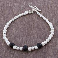 Obsidian beaded bracelet, 'Black Glimmer' - Obsidian and Sterling Silver Beaded Bracelet from Peru
