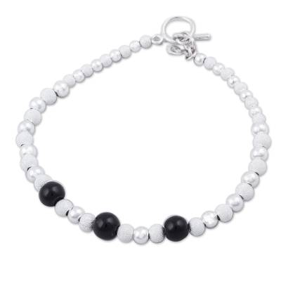 Obsidian and Sterling Silver Beaded Bracelet from Peru