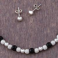Obsidian jewelry set, 'Dark Treasures' (set of 3) - 925 Sterling Silver and Obsidian Jewelry Set from Peru