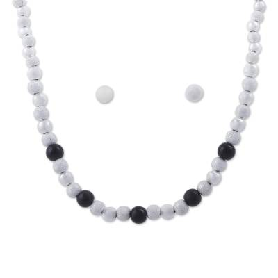 925 Sterling Silver and Obsidian Jewelry Set from Peru