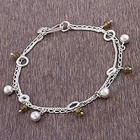 Labradorite charm bracelet, 'Lima Legend' - Labradorite and Sterling Silver Charm Bracelet from Peru