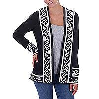 Alpaca blend sweater jacket, 'Ebony Leaf' - Black and Off White Alpaca Blend Women's Knit Jacket