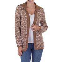 Alpaca blend cardigan, 'Spicy Glamour' - Women's Andean Alpaca Blend Spicy Brown Open Cardigan