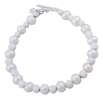 Cultured pearl beaded bracelet, 'Field of Pearls' - Cultured Freshwater Pearl and Sterling Silver Bracelet