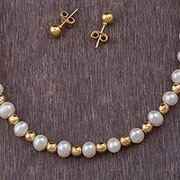 Gold plated cultured pearl jewelry set, 'Fantastic Treasures' (set of 3) - Gold Plated Sterling Silver and Cultured Pearl Jewelry Set