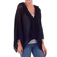 100% baby alpaca poncho, 'Ebony Black Dynasty' - Original Ebony Black Peruvian Cape in 100% Baby Alpaca