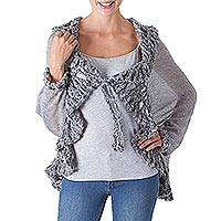 100% baby alpaca cardigan, 'Sumptuous in Smoke Grey' - 100% Grey Baby Alpaca V-Neck Open Cardigan from Peru