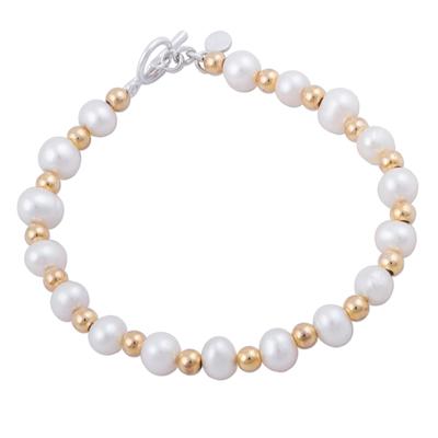 Gold accented cultured pearl beaded bracelet, 'Bright Magic' - 18K Gold Accented Cultured Pearl Beaded Bracelet