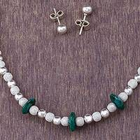 Chrysocolla jewelry set, 'Precious Green' (set of 3) - 925 Sterling Silver and Chrysocolla Jewelry Set from Peru