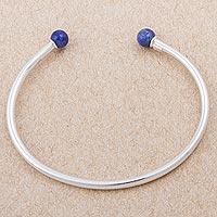 Sodalite cuff bracelet, 'Infinite Road' - Sterling Silver and Sodalite Cuff Bracelet from Peru