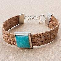 Leather and amazonite wristband bracelet, 'Simple Elegance' - Leather and Amazonite Wristband Bracelet from Peru
