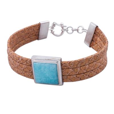 Leather and Amazonite Wristband Bracelet from Peru