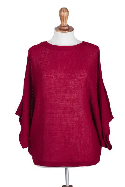 100% alpaca sweater, 'Holiday Memory' - 100% Alpaca Woven Crimson Pullover Sweater from Peru