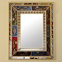 Reverse painted glass wall mirror, 'Flower Kingdom' - Floral Reverse Painted Glass Wall Mirror with Gold Tone