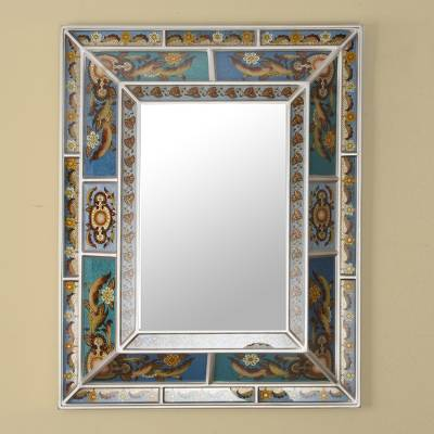Reverse painted glass wall mirror, 'Soulful Reflections' - Floral Reverse Painted Glass Wall Mirror with Silver Tone