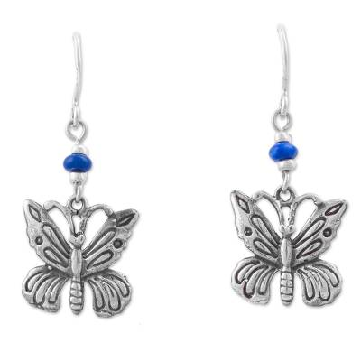 Lapis lazuli dangle earrings, 'Enchanting Nectar' - Lapis Lazuli and Silver 925 Butterfly Earrings from Peru