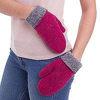 100% alpaca reversible mittens, 'Fuchsia Sophistication' - Peruvian Reversible 100% Alpaca Mittens in Fuchsia and Slate