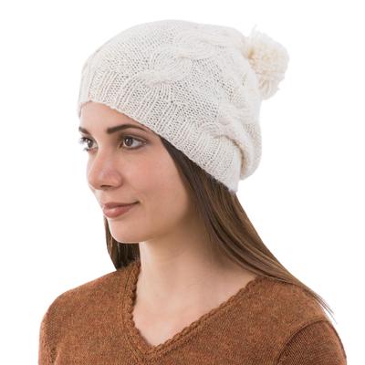 Natural 100% Alpaca Knit Hat with Braid Motif