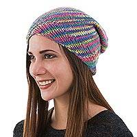 100% alpaca hat, 'Pastel Rainbow' - Artisan Knit Multicolored 100% Alpaca Hat from Peru