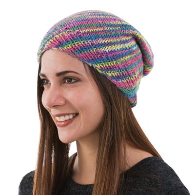 Artisan Knit Multicolored 100% Alpaca Hat from Peru