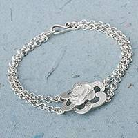 Sterling silver pendant bracelet, 'Petal Attraction' - Taxco Sterling Silver Floral Pendant Bracelet from Mexico