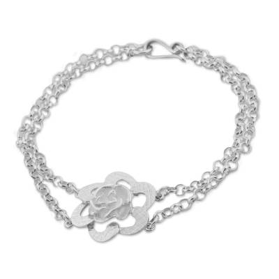 Taxco Sterling Silver Floral Pendant Bracelet from Mexico