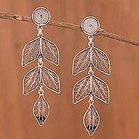 Sterling silver filigree dangle earrings, 'Sweet Shadow Leaves' - Dark Sterling Silver Leaf Shape Filigree Earrings Peru