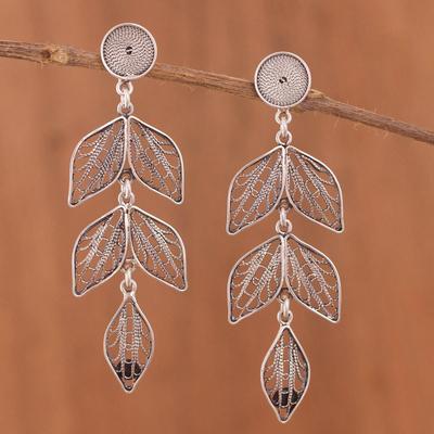 a80f86249 Sterling silver filigree dangle earrings, 'Sweet Shadow Leaves' - Dark Sterling  Silver Leaf