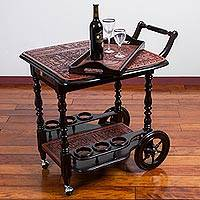 Leather and wood bar cart and tray, 'Inca Party' - Brown and Black Leather Accent Wood Rolling Bar from Peru