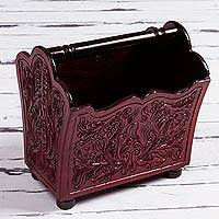 Leather and cedar magazine rack, 'Embossed Vines in Red' - Leather and Cedar Magazine Rack in Red from Peru