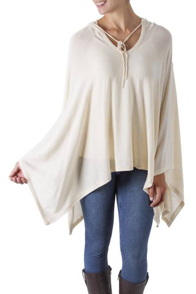 Pima cotton hooded poncho, 'Trendy Ecru' - Women's Peruvian Pima Cotton Hooded Poncho in Ecru