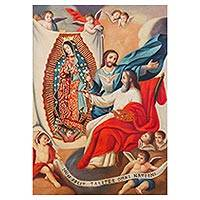 'God Painting the Virgin Mary' - Colonial Replica Painting of God Painting Mary Guadalupe