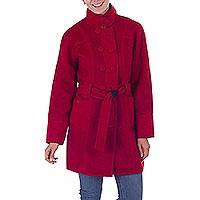 100% baby alpaca reversible coat, 'Chili Onyx' - 2-in-1 100% Alpaca Reversible Coat in Chili Red and Onyx