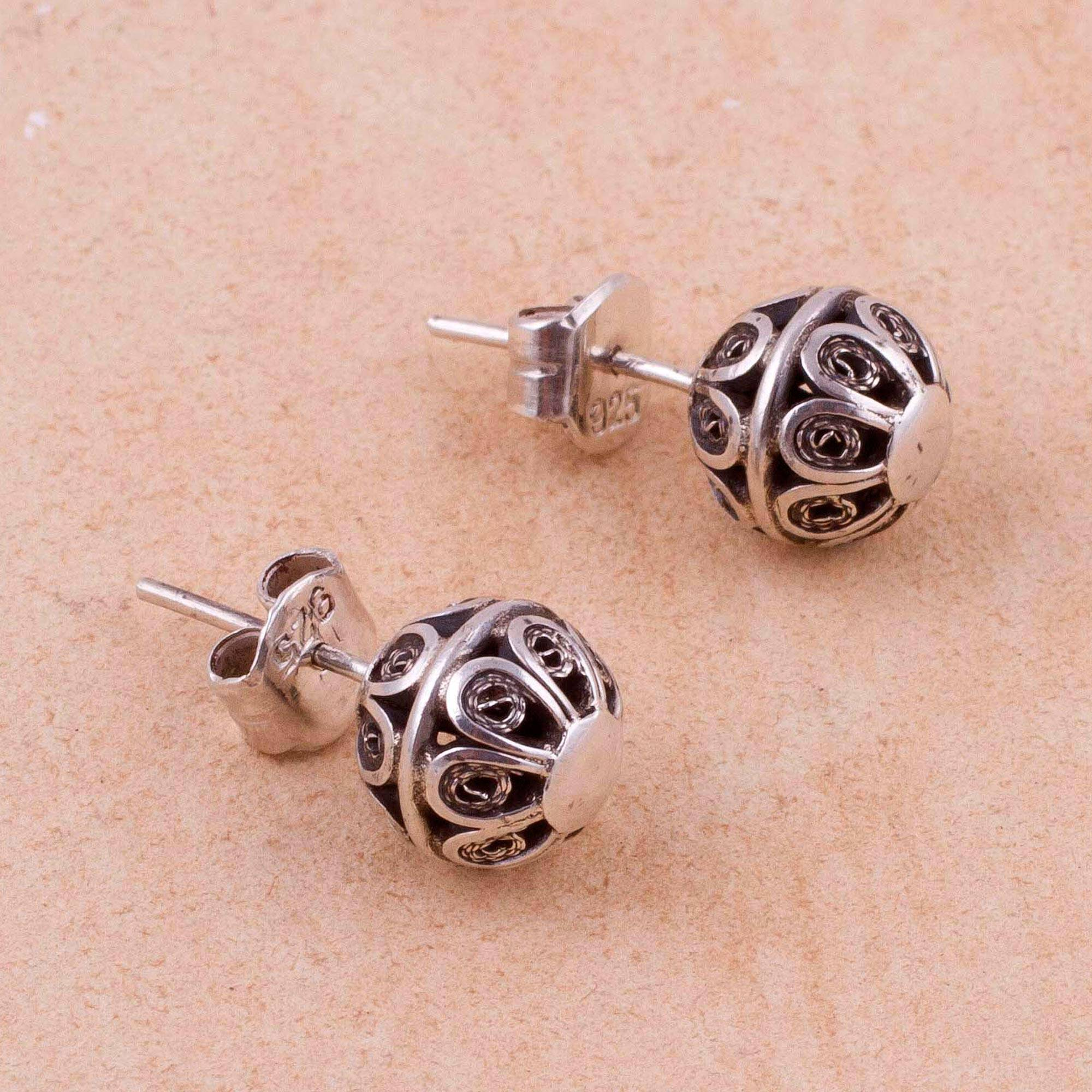 Vintage Style 925 Sterling Silver Filigree Stud Earrings Sweet Charmer