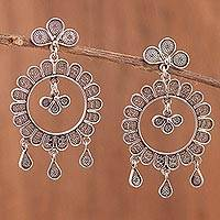 Sterling silver filigree dangle earrings, 'Midnight Garden Fantasy' - 925 Silver Peruvian Filigree Earrings Crafted by Hand