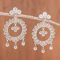 Sterling silver filigree dangle earrings, 'Garden Fantasy' - Sterling Silver Peruvian Filigree Earrings Crafted by Hand