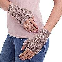 100% alpaca fingerless mitts, 'Tan Attraction' - 100% Alpaca Crocheted Fingerless Gloves in Tan from Peru