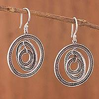 Sterling silver filigree dangle earrings, 'Night Orbits' - Peruvian Filigree Hook Earrings with Combined Silver Finish