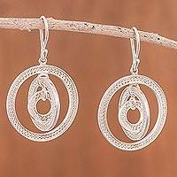 Sterling silver filigree dangle earrings, 'Circling Orbits' - Peruvian Filigree Jewelry Sterling Silver Hook Earrings