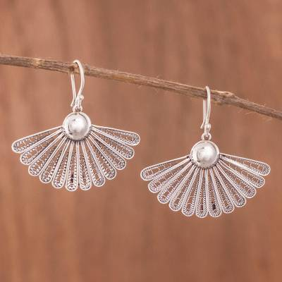 Sterling silver filigree dangle earrings, 'Yesteryear Fans' - Antiqued Filigree Fan Shaped Sterling Silver Earrings