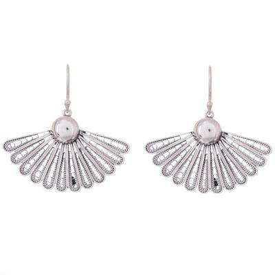 Sterling silver filigree dangle earrings, 'Yesteryear Fans' - Antiqued Filigree Fan Shaped Sterling Silver Earrings