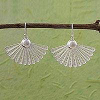 Sterling silver filigree dangle earrings, 'Contemporary Fans' - Peruvian Filigree Fan Shaped 925 Sterling Silver Earrings