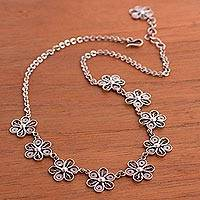 Sterling silver filigree flower pendant necklace,