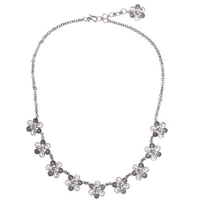 Hand Crafted Silver Necklace with Peruvian Filigree Flowers