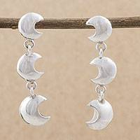 Sterling silver dangle earrings, 'Three Crescents' - 925 Sterling Silver Moon Dangle Earrings from Peru